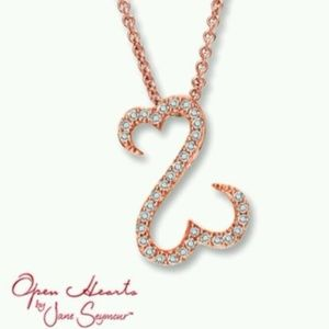 10k Rose Gold Open Heart Jane Seymour Necklace EUC